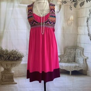 Anthropologie Ranna Hill Pink Embroidered Dress XS